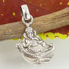 Ganesha Designer Pendant 925 Solid Sterling Silver PLAIN No Stone Top Gift Store #SunriseJewellers #Pendant