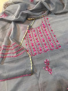 Embroidery Suits Punjabi, Embroidery On Kurtis, Kurti Embroidery Design, Embroidery On Clothes, Hand Work Embroidery, Embroidery Fashion, Embroidery Dress, Embroidery Stitches, Neck Designs For Suits