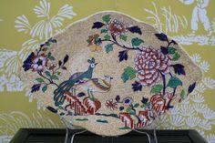 Antique Spode Copeland & Garrett Dish Yellow with Birds and Peonies. $180.00, via Etsy.