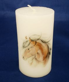 Printed candle, horse.