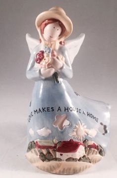 Vintage Russ Berrie Love Makes House Home Porcelain Angel Tealight Candle Holder