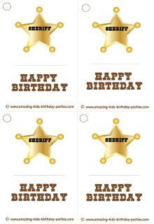 FREE Sheriff Badge Birthday Gift Tags