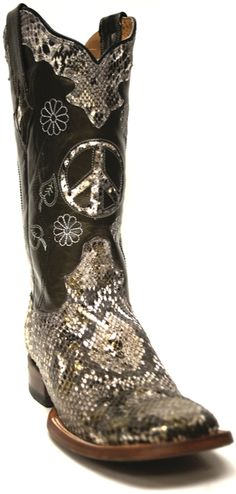 Lucchese Women's Resistol Ranch Metallic Python Vamp Cowgirl Boots -- Peace, Love and Weddings! | SouthTexasTack.com