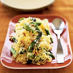 Hello, gourdeous...creamy spaghetti squash with asparagus and rosemary