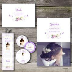 Recordatorio o invitación de comunión de niña en lavanda y menta. Y kit de etiquetas y marca páginas a juego. Es totalmente personalizable. #comunión #recordatorio #invitación #marcapágina #etiqueta #avatar #minder #communion #invitation #bookmark #kit #label #lavanda #lavender #menta #mint #flores #flowers #guirnalda #garland Baby Baptism, First Holy Communion, Holi, Special Occasion, Clip Art, Diy Crafts, Invitations, Birthday, Frame