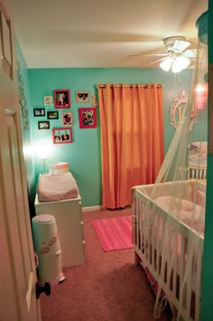Love this nursery. It's not so much themed as just full of baby-girl cute.
