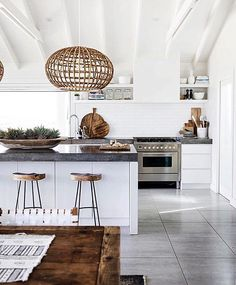 Kitchen inspiration. I love woods and whites