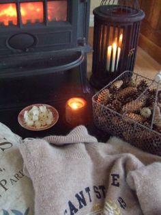 Love the wire basket with pinecones idea.....cosy cosy cosy