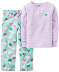 70e0a33bc0 Carter s Girls  or Little Girls  2-Piece Mint Cupcake Pajamas   Reviews -  Pajamas - Kids - Macy s