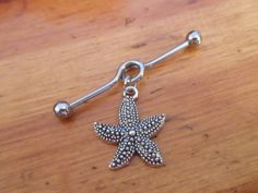 Items similar to Industrial Barbell - Starfish Industrial Barbell - Industrial Piercing on Etsy Industrial Bar Piercing, Industrial Earrings, Industrial Bars, Body Piercings, Piercing Tattoo, Baby Tattoos, Body Art Tattoos, Pircing Industrial, Bar Earrings