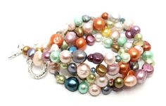 26in Long Multi Color Freshwater Potato Pearls and Shimmery Crystals Necklace | AyaDesigns - Jewelry on ArtFire