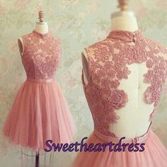 Vintage high neck short prom dress for teens, homecoming dress, bridesmaid dress -> http://sweetheartdress.storenvy.com/products/13319061-cute-blush-pink-tulle-open-back-short-prom-dress-lace-open-back-bridesmaid