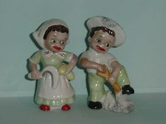Black Americana Gardening Couple Salt and Pepper Shakers