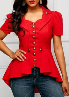 How to Make the Perfect Blackened Salmon The First Time Button Embellished Red Asymmetric Hem Blouse Trendy Tops For Women, Blouses For Women, Blouse Styles, Blouse Designs, Rock Chic, Red Blouses, Formal Blouses, Blouse Online, Mode Outfits