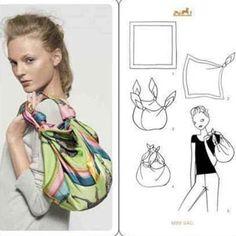 スカーフを使ったアレンジメントパターン集です。 頭に巻いたり首に巻いたりと通常の使い方から、バッグや洋服、ベル…