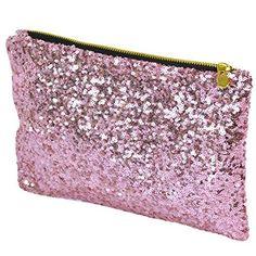From 1.85 Pu Ran Glitter Bling Sequins Clutch Evening Party Bag Handbag (pink)