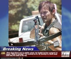 """Breaking News - When Daryl Dixon was in middle school, his English teacher assigned an essay: """"What is courage? Walking Dead Tv Show, Walking Dead Funny, Fear The Walking Dead, Quotes Thoughts, Life Quotes Love, Norman Reedus, Abraham Hicks, What Is Courage, Mantra"""