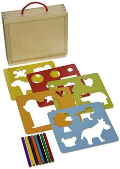 Vilac Baby Shape and Color Recognition Toy Wooden Stencils Farm Animal  These beautiful wood farm animal stencils come in a charming suitcase with all the tools you need for a budding artist. The set comes with five colorful wood stencils with many shapes, farm animals and equipment, plus eight colored pencils. When the projects are done, just tuck everything back in the handy suitcase for storage. Lovingly crafted by Vilac whose toys are adored throughout the world.       Vilac Ba..