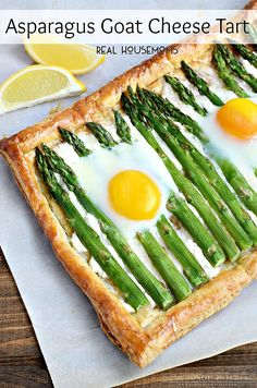 This recipe just screams Spring! Tender asparagus, tangy goat cheese, and baked eggs served on a crispy puff pastry make this Asparagus and Goat Cheese Tart perfect breakfast or brunch recipe.