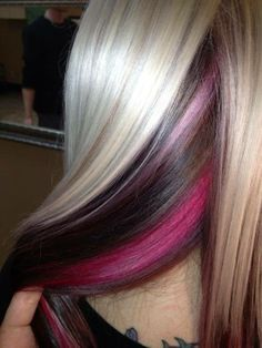 Hair Colour - Peek a boo Highlights - Platinum Blonde, Chocolate and Pink