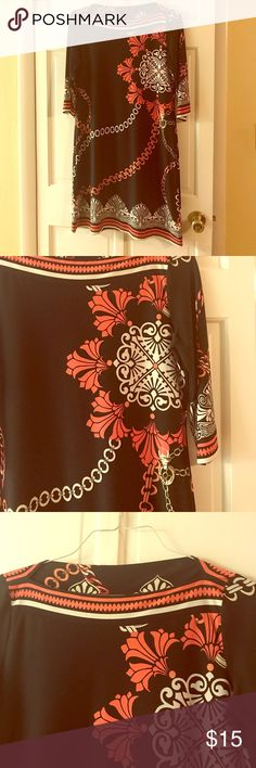 """Black dress Very classy black/cream/coral dress, wear it to work or a night out. 3/4 length sleeves. Gently worn, I'm 5'4"""" and it came to my knee or a little bit above. 🚭🏡✅🐶 Sweet Dresses Midi"""