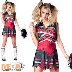LADIES BLACK ZOMBIE CHEERLEADER WOMEN SCHOOL FANCY DRESS COSTUME HALLOWEEN ADULT