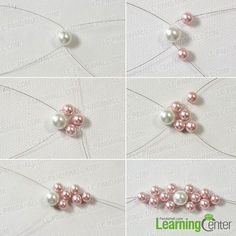 make the middle pink flower for the charm pearl bracelet