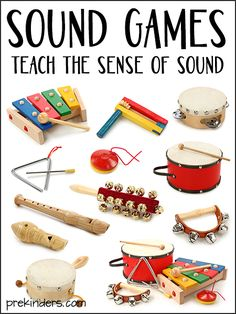 These two games teach children about the sense of sound. More sound activities are available here. Sound Game: What Is It? Several objects that make sound were placed behind a display board. A group of children sat 5 Senses Activities, Preschool Music Activities, Preschool Science, Science Experiments Kids, Preschool Activities, Language Activities, Group Activities, Teaching Music, Teaching Kids