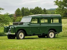 Land Rover 109 Serie II A SWB Safari top on classic green.  One of the best and beautiful Land Rover for me.
