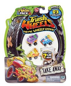 Trash Pack Wheels TAKE AWAY Blister (4-Pack). Trash Pack Wheels TAKE AWAY Blister. Rubbish just got revved-up with the new Trash Pack Trash Wheels collection! A brand new Trash Packs range, have a 'wheely' gross time racing these Trash Wheels vehicles around the garbage yard! There are over 83 cars to collect in the form of 6 gruesome teams: the Muck Trucks, Litter Buggies, Skid Marks, Army Junk, Take Aways and Rust Busters! One supplied, colour and style may vary. Suitable for ages 5 and...