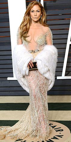 All the Oscars Dresses You Didn't See | JENNIFER LOPEZ | J.Lo ditched her voluminous Elie Saab for a sleek Zuhair Murad Couture gown (that still showed off her rockin' bod), Jimmy Choo accessories and a fur stole at the Vanity Fair party.