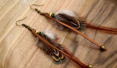 Boucles d'oreilles plumes Aquene - Ethnic Feather - Bijoux ethniques - Bijoux indiens - : Boucles d'oreille par ethnic-feather