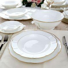 Narumi Lotus Gold Dinner Set of Forty,Dinner Sets