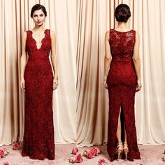 2bbda69b374 V Neck Lace maxi Bridesmaid Lace Long Dress in Burgundy and Dusty Rose – Frugal  Mughal