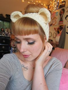 Cream Bear Headband Ear Warmer by tinytangerines on Etsy