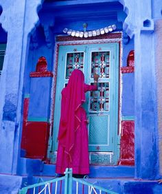 The Muslim section of Jodhpur characteristically painted in cobalt blue, Rajasthan by Jim Zuckerman