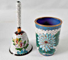 Vintage Asian Cloisonne Hand Bell and Tea Cup Asian by GSaleHunter #vogueteam #etsygifts