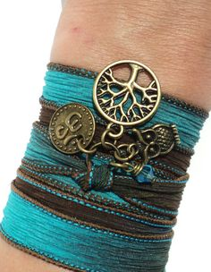 Tree of Life Owl Silk Wrap Bracelet Yoga by BohemianEarthDesigns, $30.95