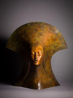 Bronze Figurative Abstract Sculptures #sculpture by #sculptor Simon Gudgeon titled: 'Whispering Spirit' £17500 #art