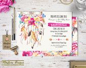 Boho Chic Watercolor Dream Catcher and Vibrant Floral Baby Shower - Bridal Shower - Birthday Party Invitation DIGITAL FILE