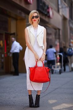 loving the white on white, sleeveless leather vest, and length of dress. basically.. i need this