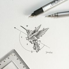 Geometric Beasts | Hummingbird Smallest so far. by kerbyrosanes
