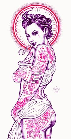 Lovely Illustrations Of Sexy Ladies Covered In Tattoos - DesignTAXI.com