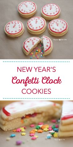 The countdown to midnight begins with these celebratory New Year's Confetti Clock Cookies. #Ad