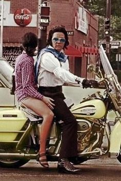 "Elvis | candid photo taken by a fan | taking a ride on ""one"" of his many motorcycles 