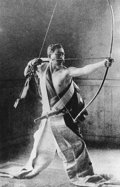 Japanese Kyūdō Archer I have to ask...how would this guy move without tripping himself? If I have long, long pants on and they get under my feet...bad news.