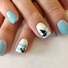 Easy & Simple Gel Nail Art Designs 2018 - style you 7 Beach Nail Designs, Cute Summer Nail Designs, Cute Summer Nails, Gel Nail Art Designs, Nails Design, Spring Nails, Anchor Nail Designs, Nautical Nail Designs, Simple Gel Nails