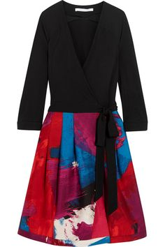 Diane von Furstenberg | Jewel wool-jersey and printed silk-mikado wrap dress | NET-A-PORTER.COM