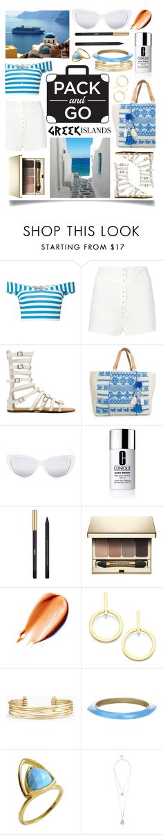 """Pack and Go: Greek Islands"" by ittie-kittie on Polyvore featuring Miss Selfridge, Calvin Klein Collection, Star Mela, Elizabeth and James, Clinique, Yves Saint Laurent, Clarins, Vita Fede, Stella & Dot and Alexis Bittar"