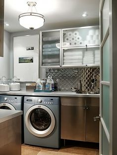 LAUNDRY ROOM Ideas..stainless shelving